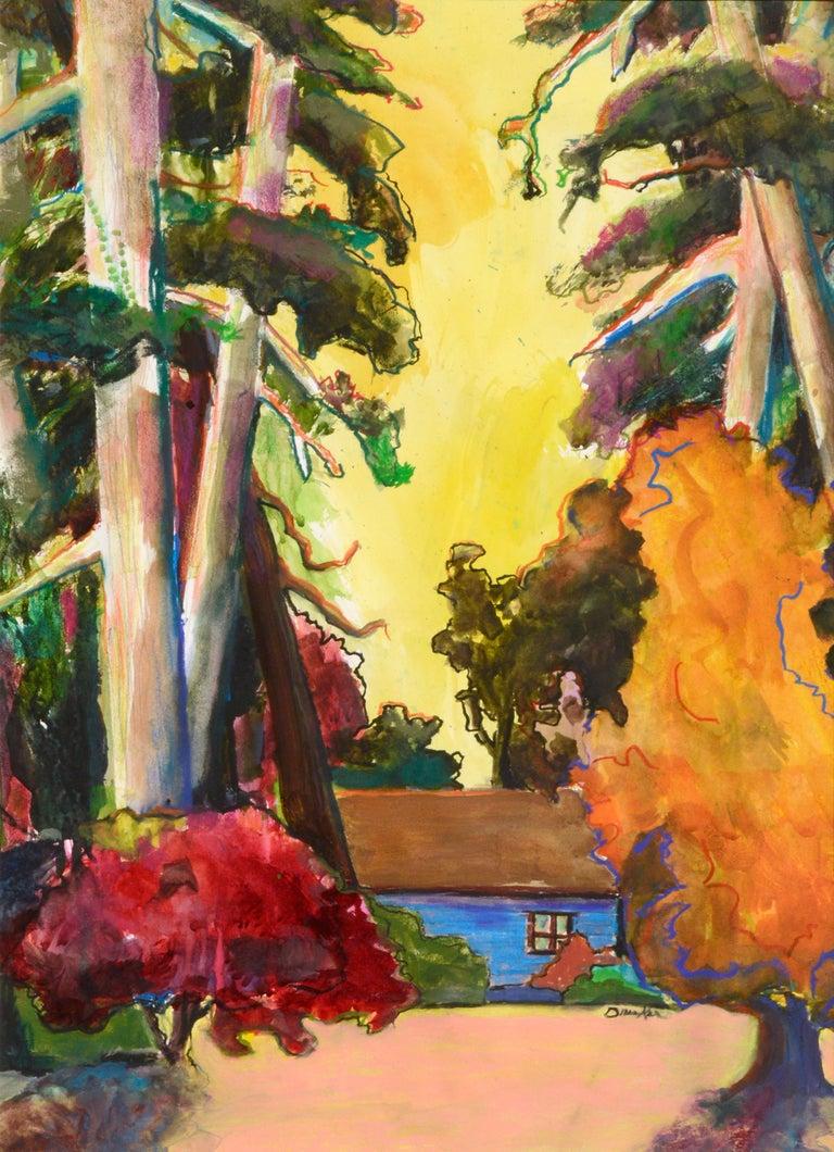 The Blue Cabin - Vertical Landscape - Art by Karen Druker