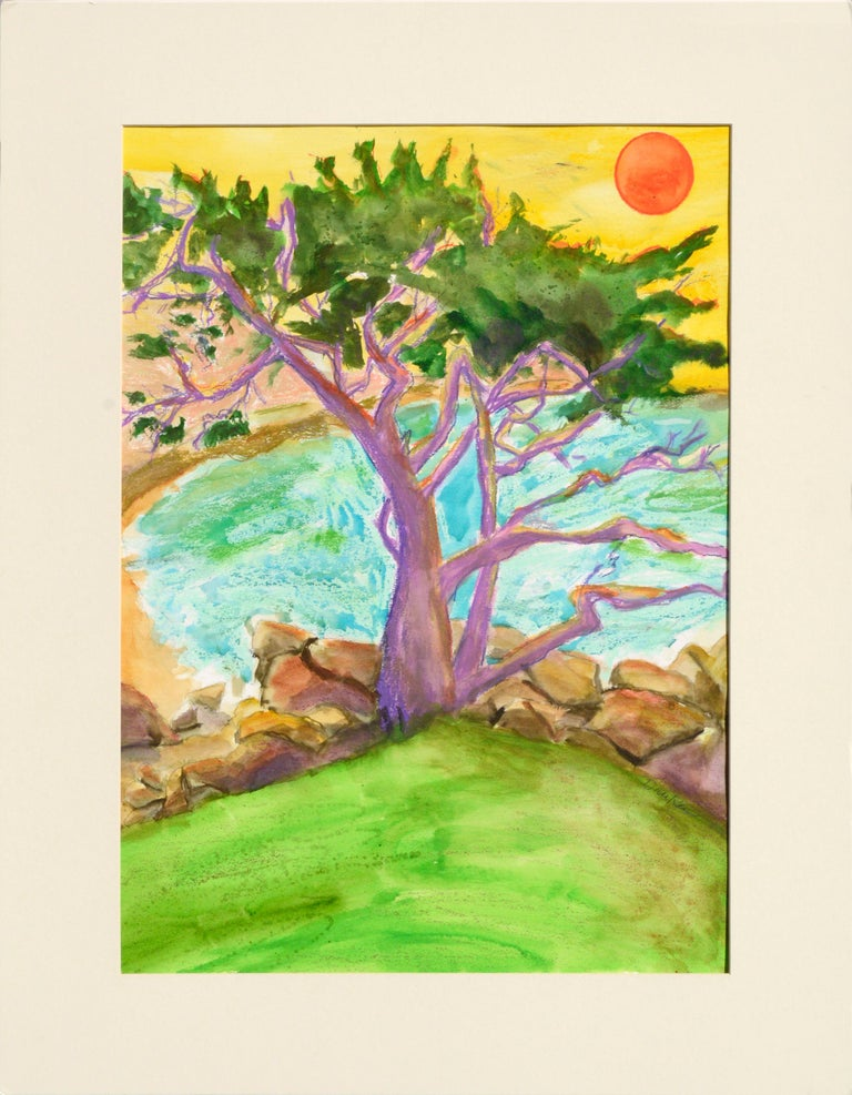 Karen Druker Landscape Art - Purple Cypress - Vertical Landscape