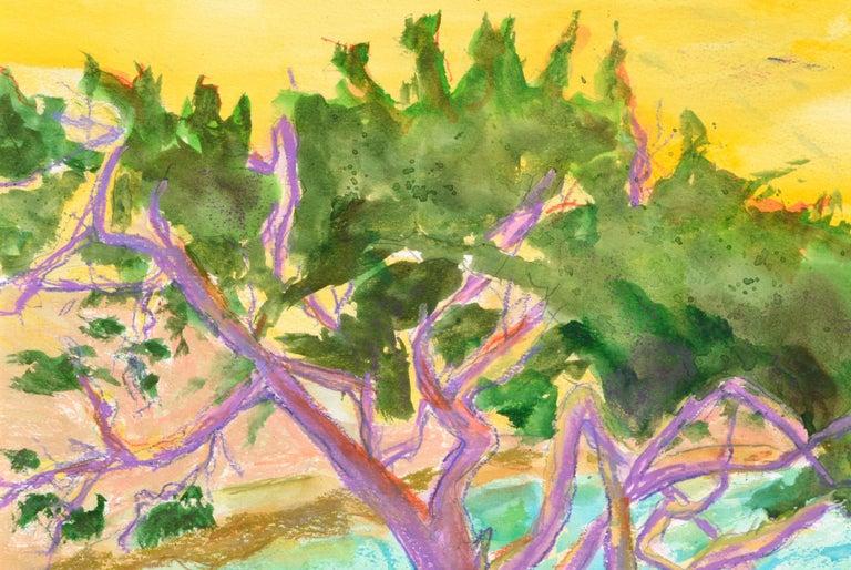Purple Cypress - Vertical Landscape - Fauvist Art by Karen Druker