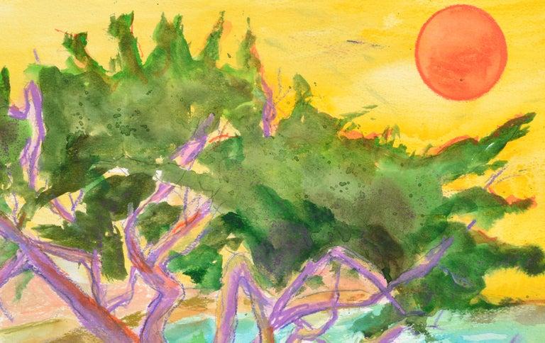 Purple Cypress - Vertical Landscape - Beige Landscape Art by Karen Druker