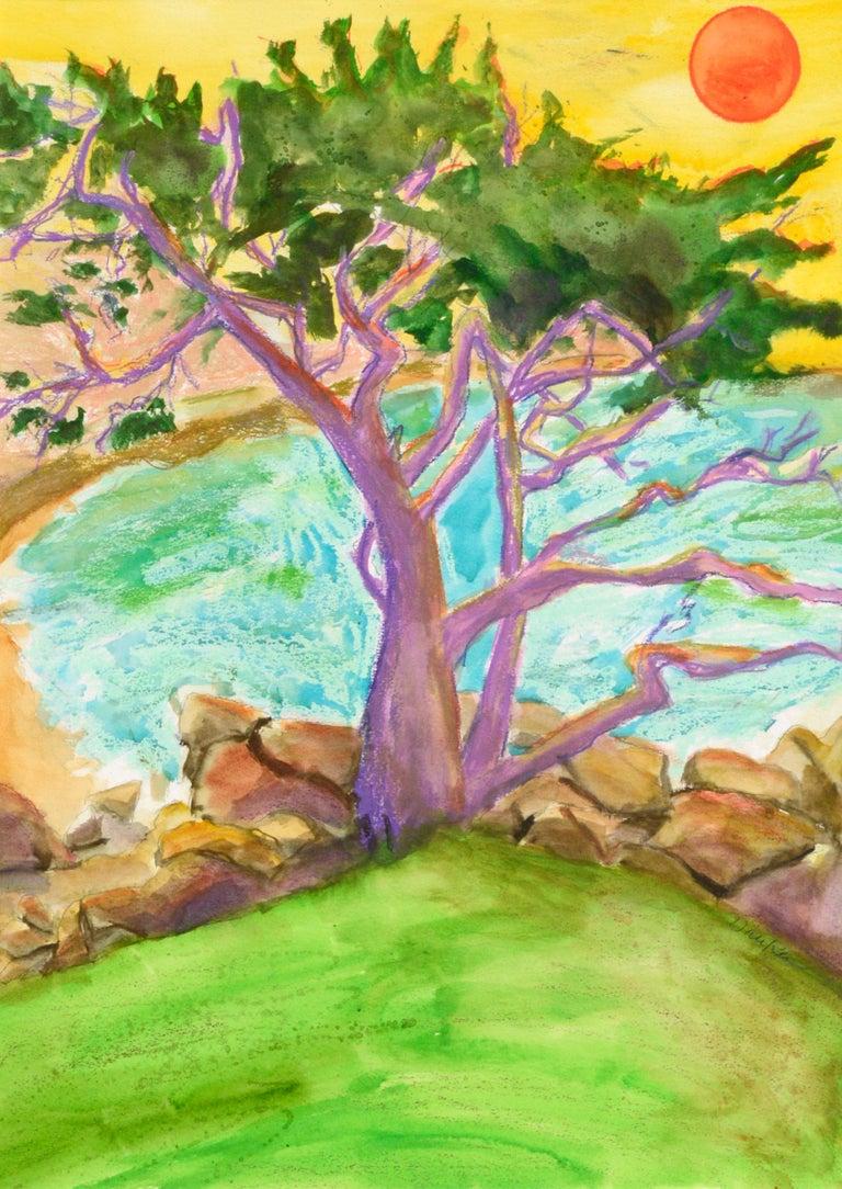 Purple Cypress - Vertical Landscape - Art by Karen Druker