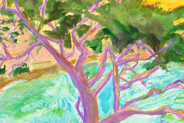 Brightly colored landscape of a cypress tree at the edge of the water by Karen Druker (American, 1945). Signed