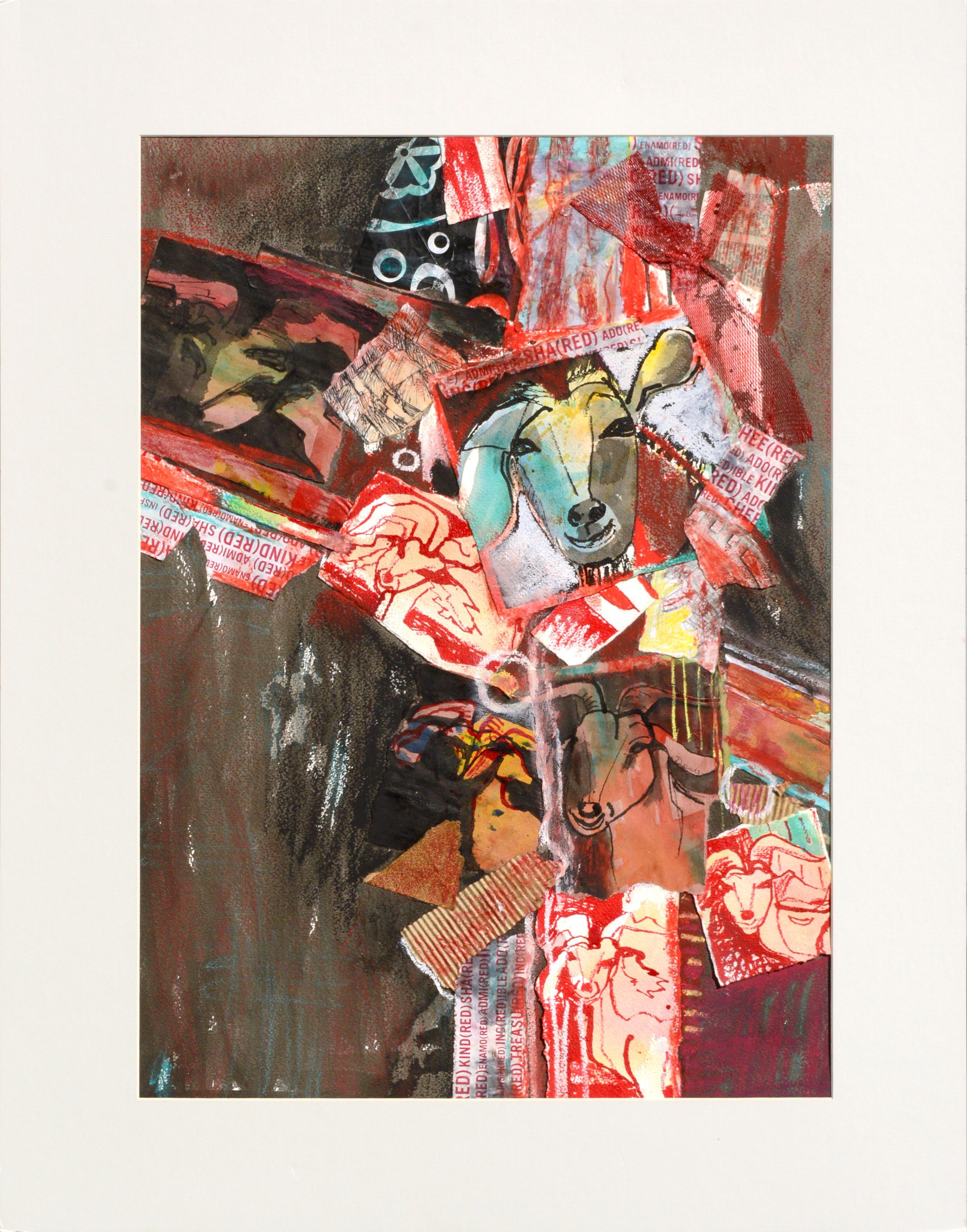 Red Goat Abstract Collage