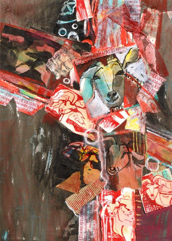 Red Goat Collage - Art by Karen Druker