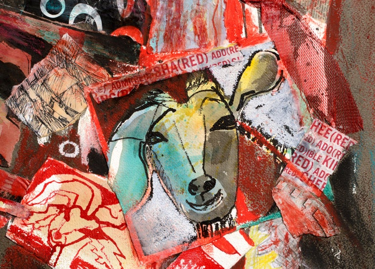 Collage of goats and other media by Karen Druker (American, 1945). Signed