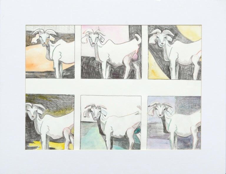 Karen Druker Figurative Painting - Six Goats