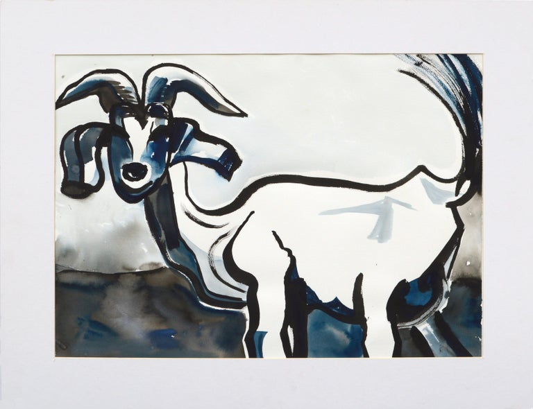 Karen Druker Animal Art - Goat Portrait in Black and Blue