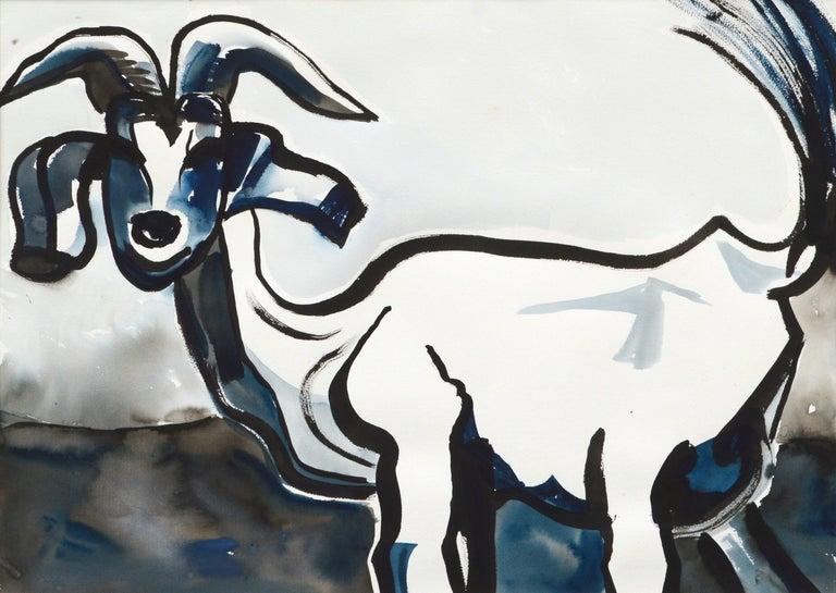 Goat Portrait in Black and Blue - Art by Karen Druker