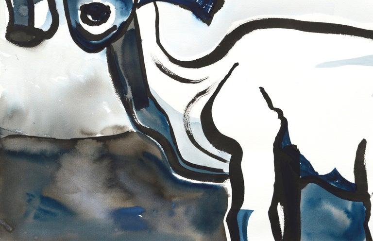 Goat Portrait in Black and Blue - Gray Animal Art by Karen Druker