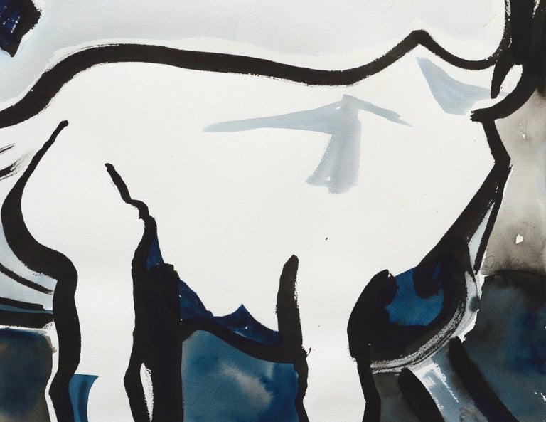 Bold portrait of a goat by Karen Druker (American, 1945). Signed