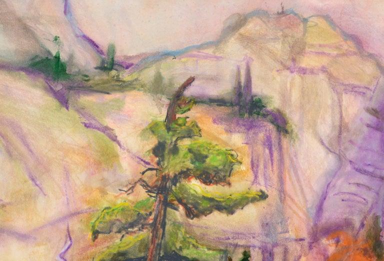 Bricgtly colored vertical landscape of Yosemite by Karen Druker (American, 1945). Signed