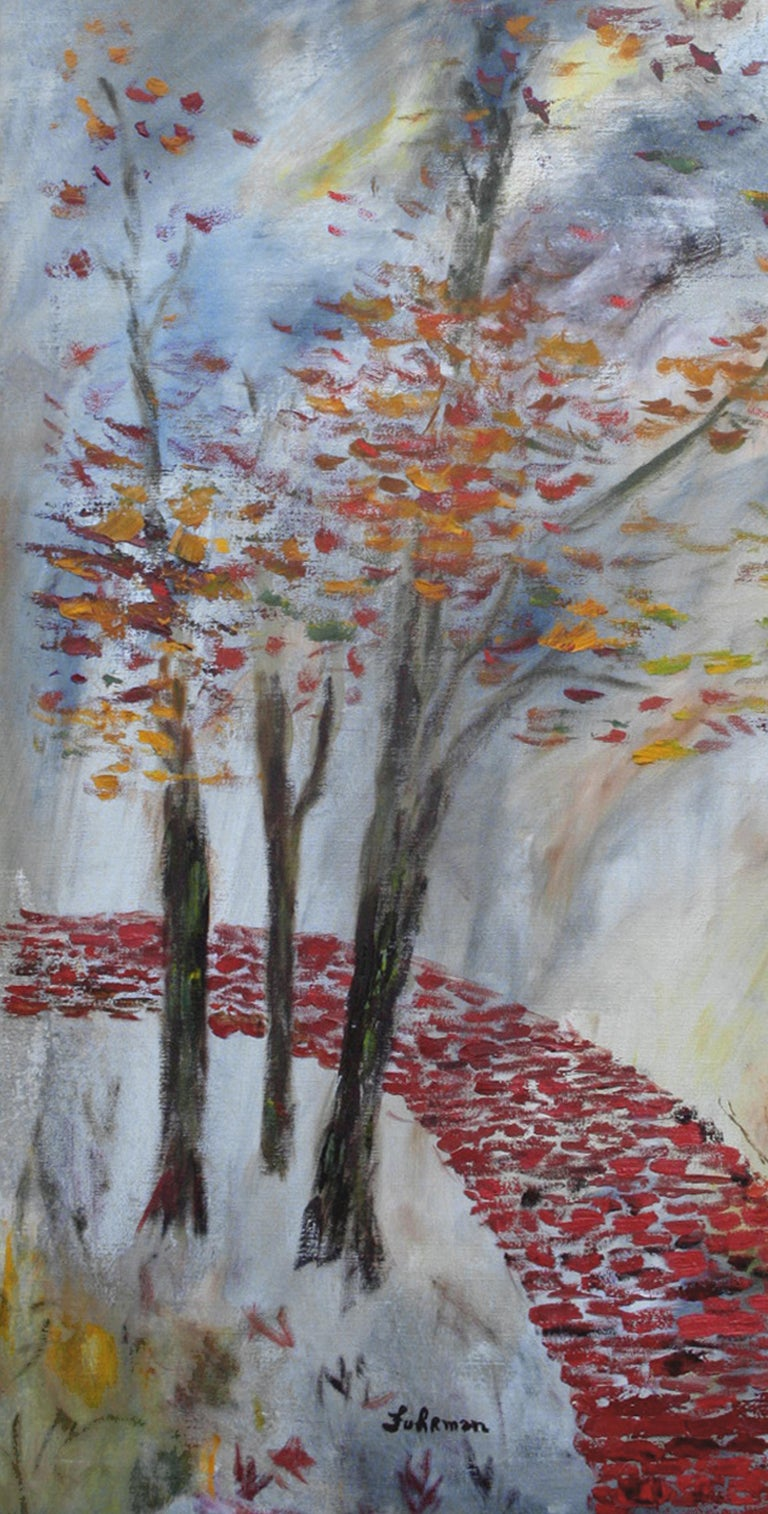 Mid Century Brick Path Abstracted Landscape - American Impressionist Painting by Charles Fuhrman