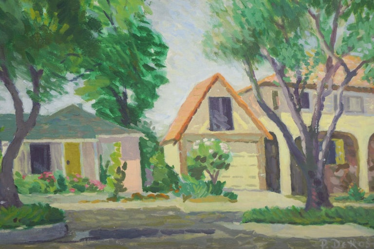 1970s Our Neighborhood Landscape - American Impressionist Painting by P. DeRosa