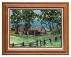 Mid Century California Farm Plein Air Landscape