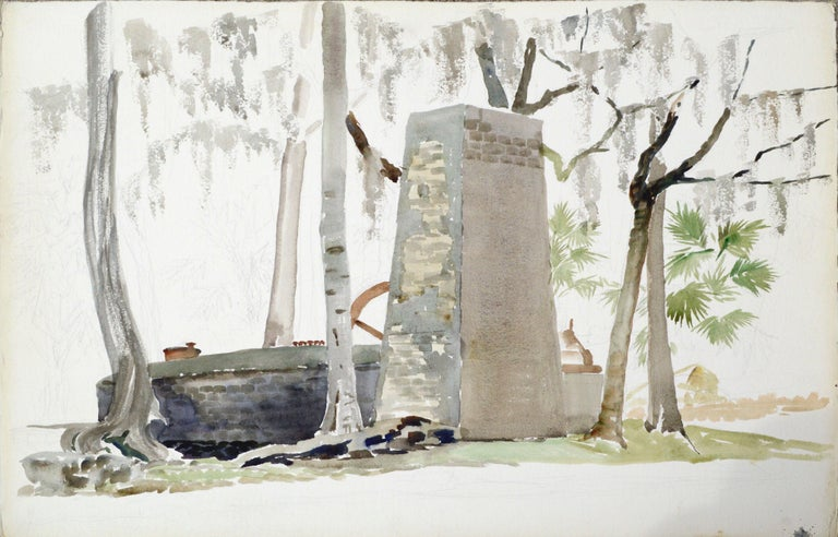 Joseph Yeager Figurative Art - Stone Monument to a Forest Cabin