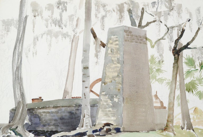 Stone Monument to a Forest Cabin - Art by Joseph Yeager