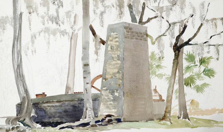 Stone Monument by Joseph Yeager (early-mid 20th Century) on heavy bond watercolor paper with ragged edges. No frame. Unfinished, unsigned work. Estate of Joseph Yeager on Verso.  Joseph