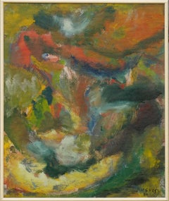 Mid Century Double-Sided Earth Toned Abstract