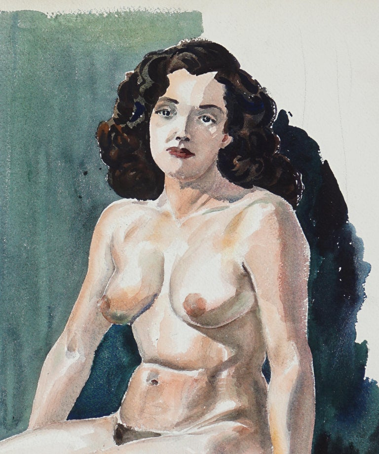 Seated Nude Woman - Art by Joseph Yeager