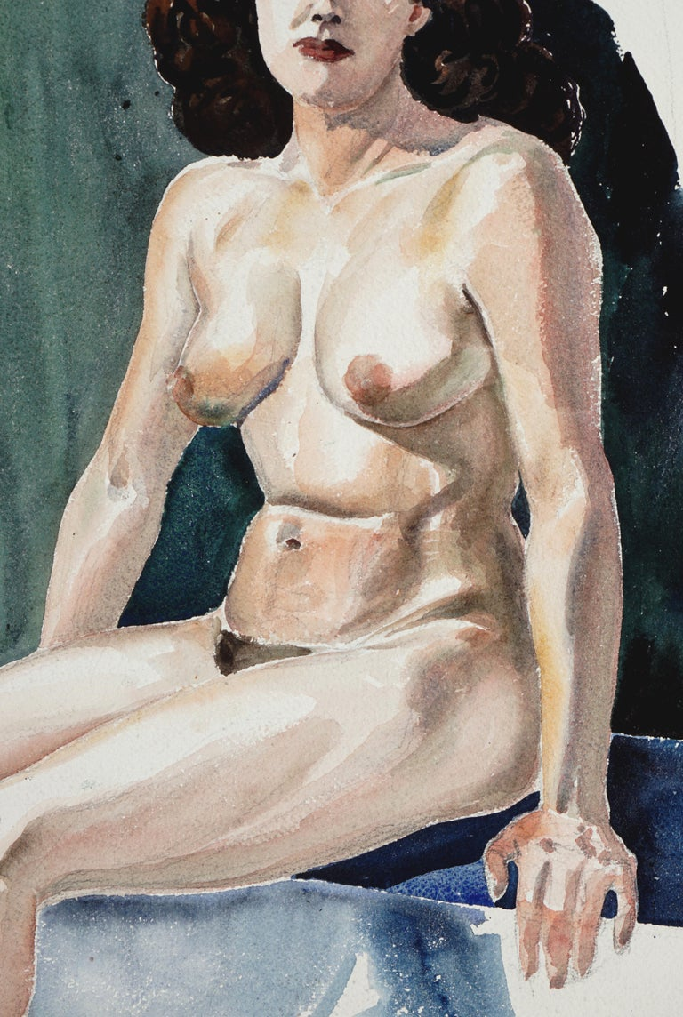 Seated Nude Woman - Gray Portrait by Joseph Yeager