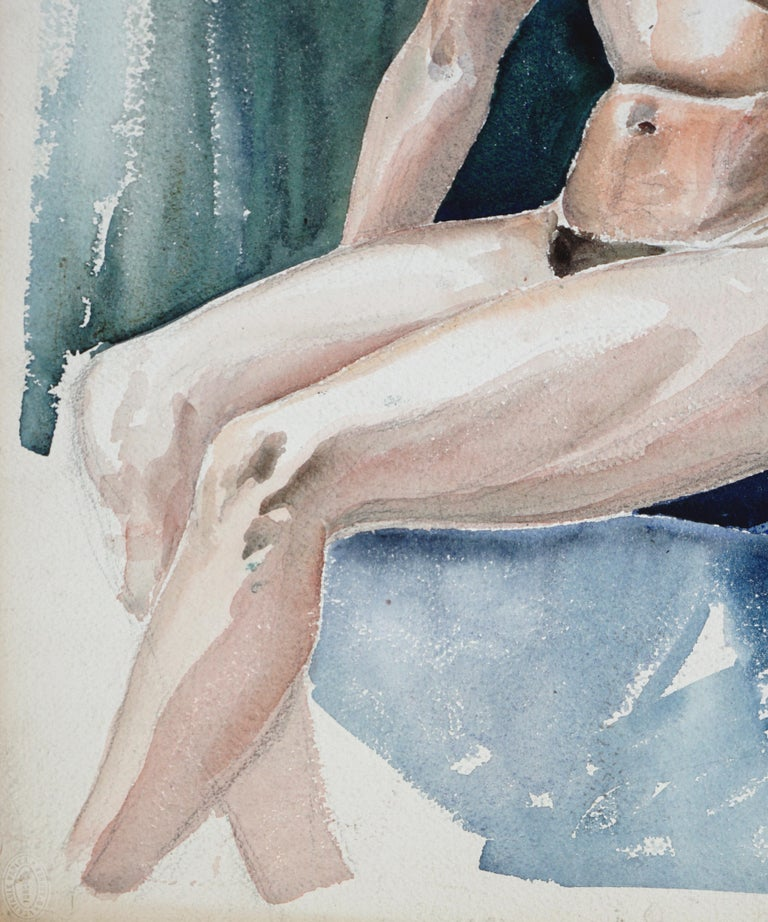 Graceful depiction of seated nude woman with brown hair by Joseph Yeager (American, 20th Century). Unsigned, but was acquired with a collection of Joseph Yeager works directly from the estate. This piece is on heavy bond paper with ragged edges. No