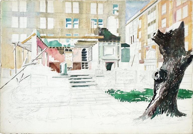 Joseph Yeager Landscape Art - Building Under Renovation (unfinished work)