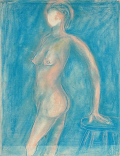 Pink Standing Nude Figurative drawing by Louis Nadalini