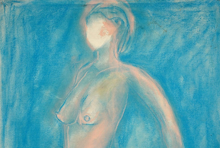 Pink Standing Nude Figurative drawing by Louis Nadalini For Sale 1