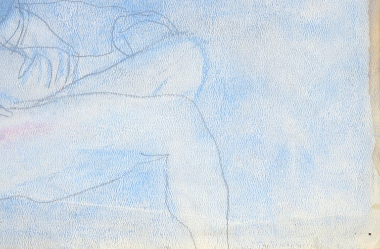Reclining Nude in Pastel Blue For Sale 1