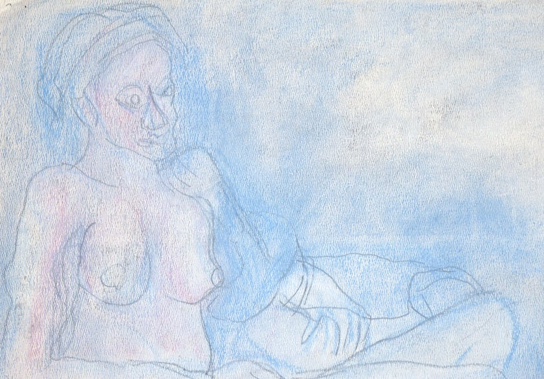 Reclining Nude in Pastel Blue - Abstract Expressionist Art by Louis Nadalini
