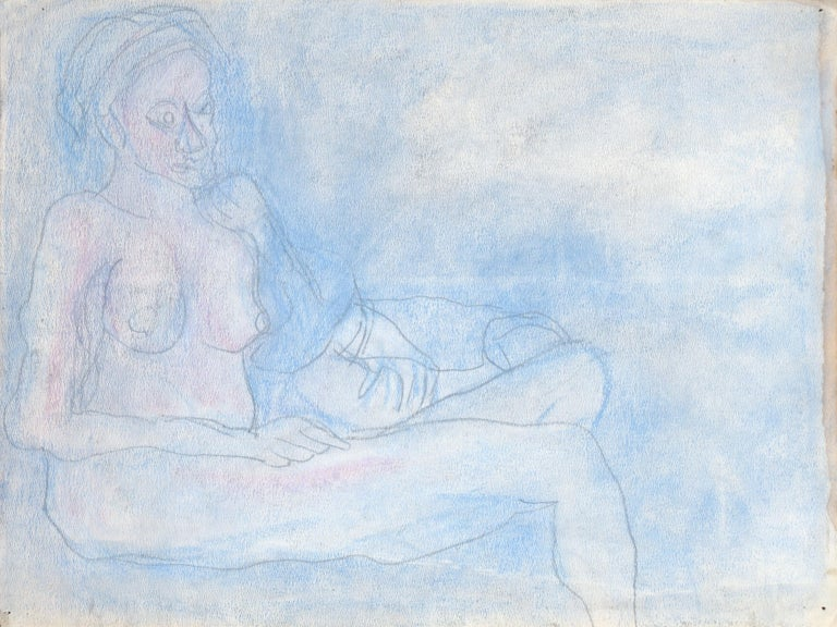 Reclining Nude in Pastel Blue - Art by Louis Nadalini