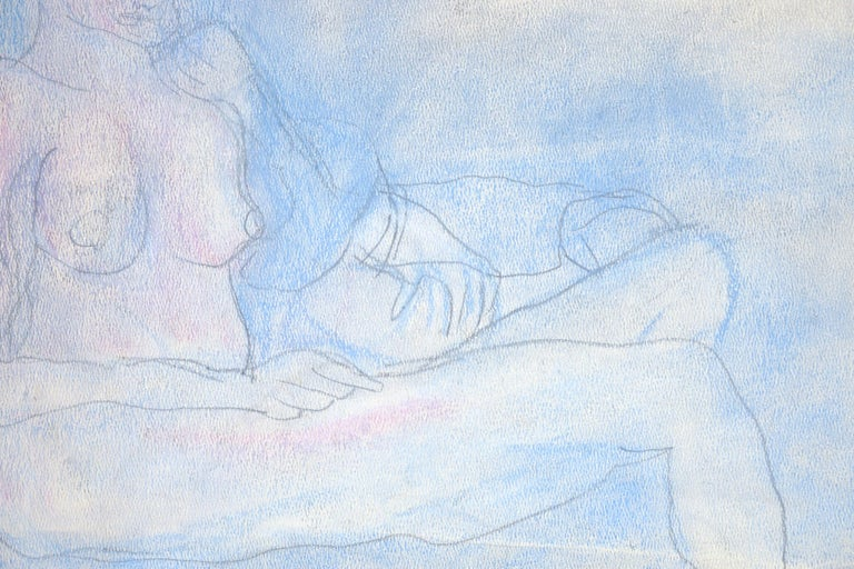 Reclining nude by Louis Nadalini (American, 1927-1995). This piece is unsigned, but was acquired with a collection of Nadalini work. Unframed (First image shows what it would look like with simple 1