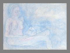 Reclining Nude in Pastel Blue