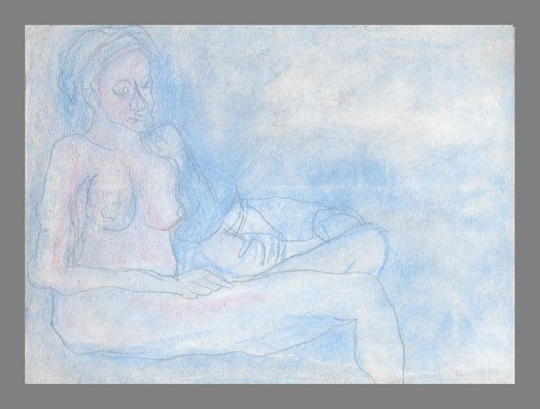 Louis Nadalini Figurative Art - Reclining Nude in Pastel Blue