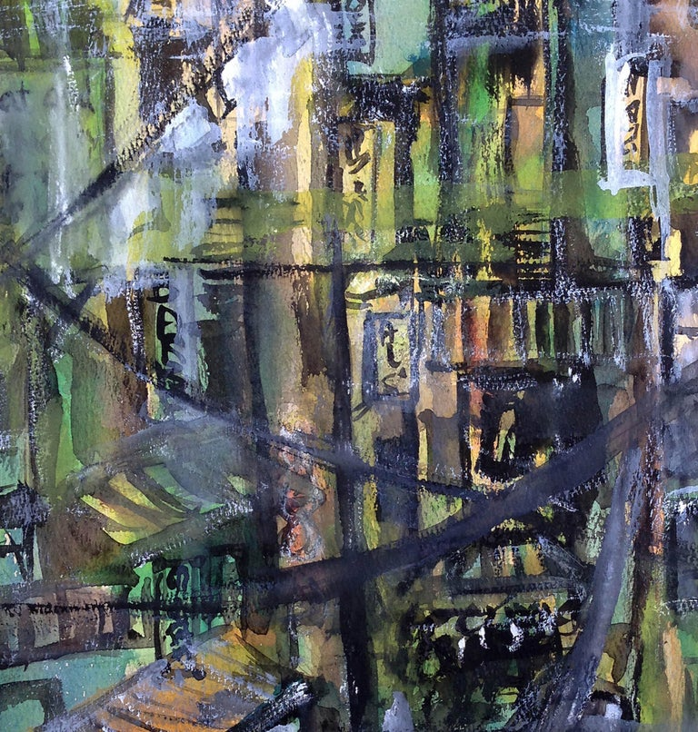 Mid Century Urban Cityscape - American Impressionist Painting by Karen Miller
