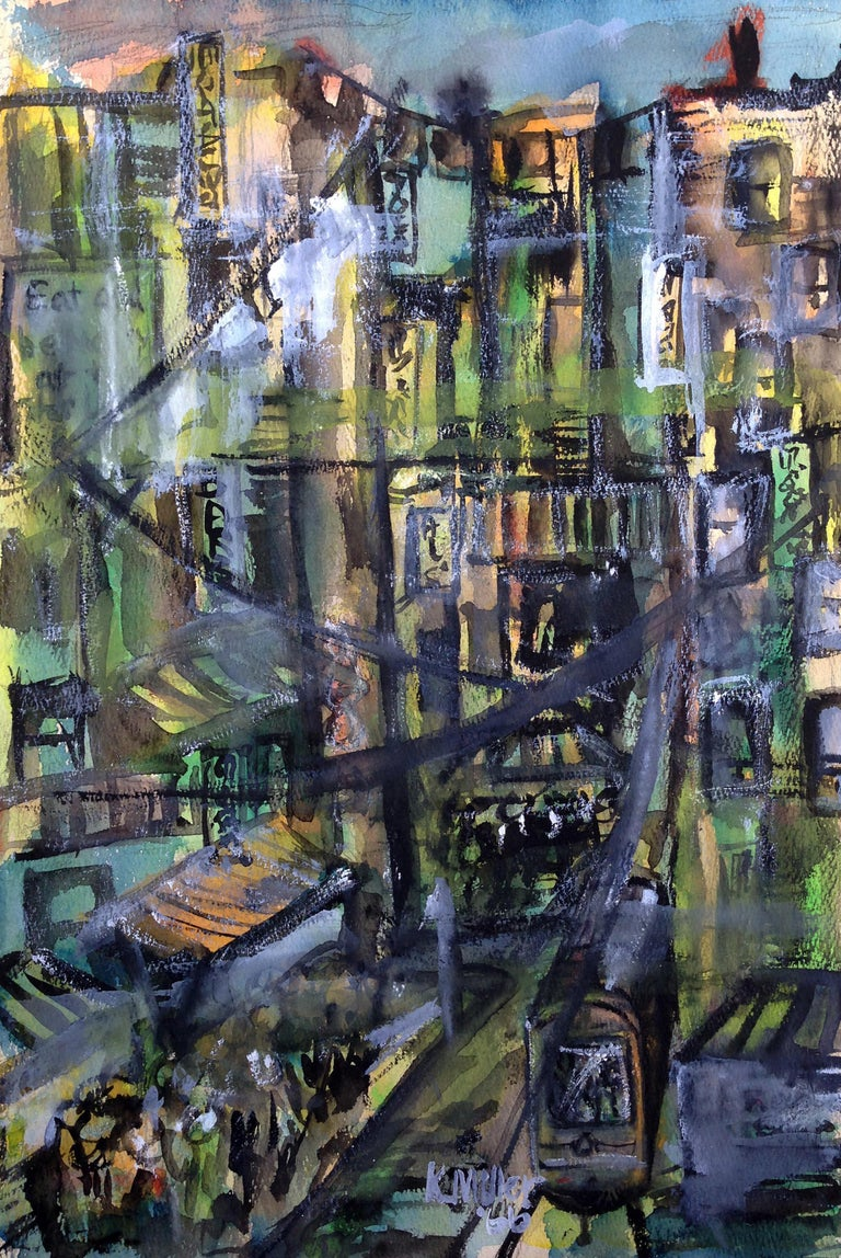 Mid Century Urban Cityscape - Painting by Karen Miller