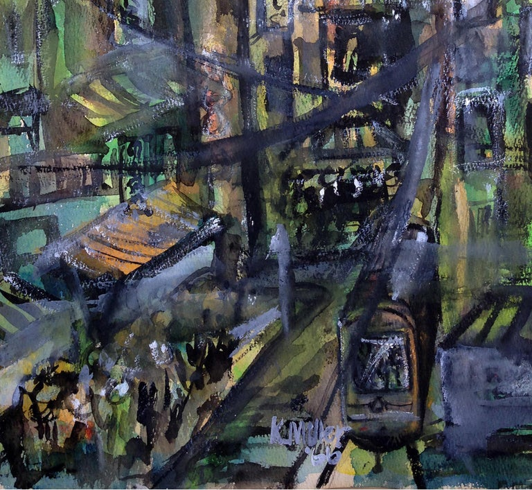 Wonderful mid century watercolor Figurative, Cityscape by Karen Miller (American, 20th century). Signed lower right
