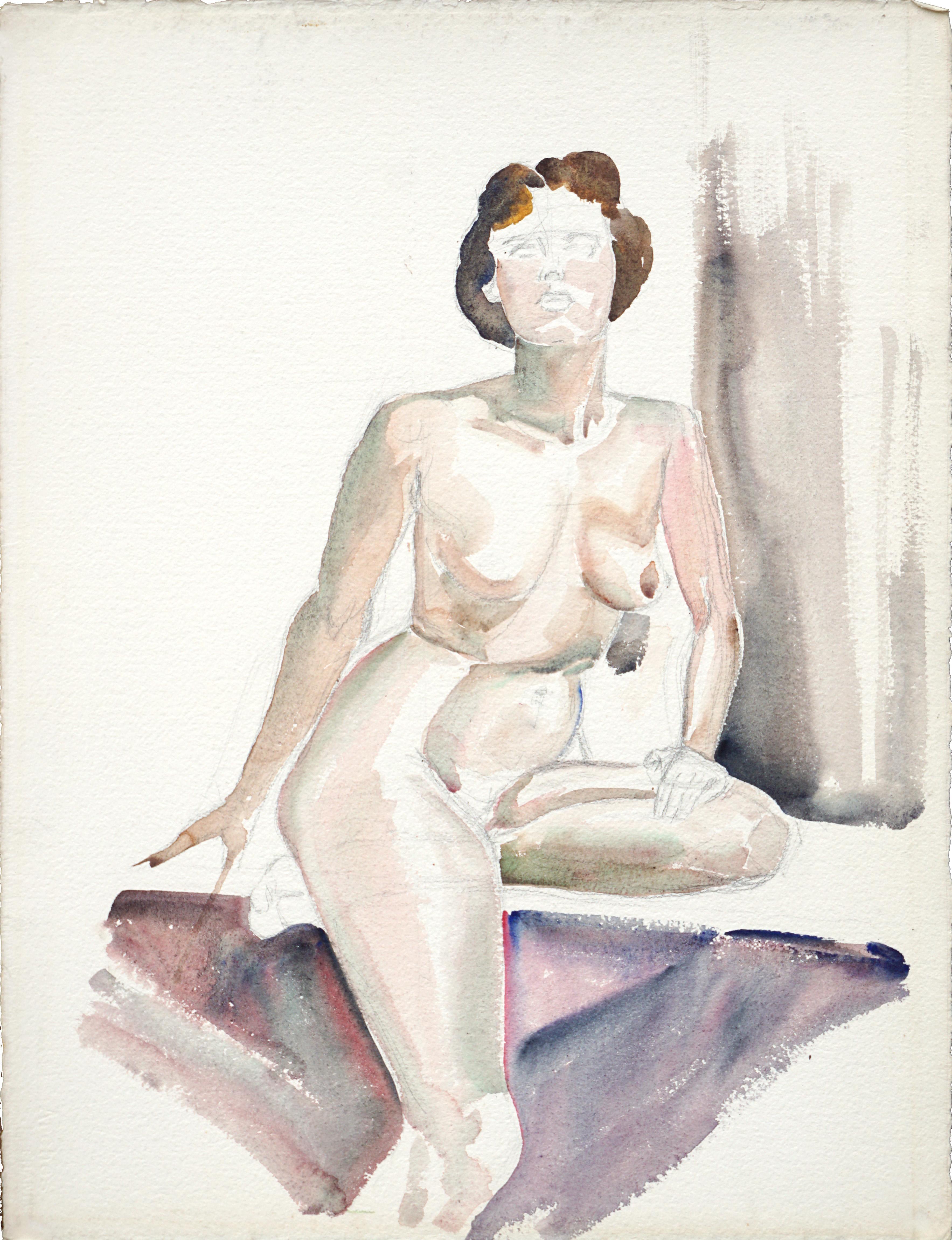 Mid Century Seated Nude Figure Study (unfinished)