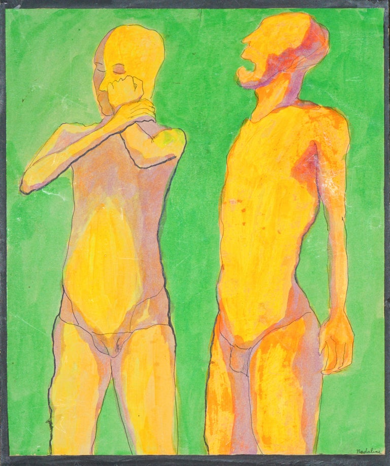 """Louis Nadalini Nude - """"You Need to Listen to Me"""" Florescent Figurative"""