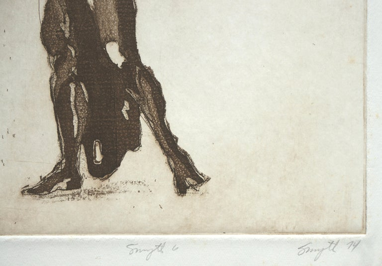 Graceful abstract figurative lithograph by Jim Smyth (American, b. 1938). Numbered, titled, signed and dated