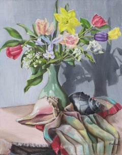 Early 19th Century Floral Still Life with Conch Shells