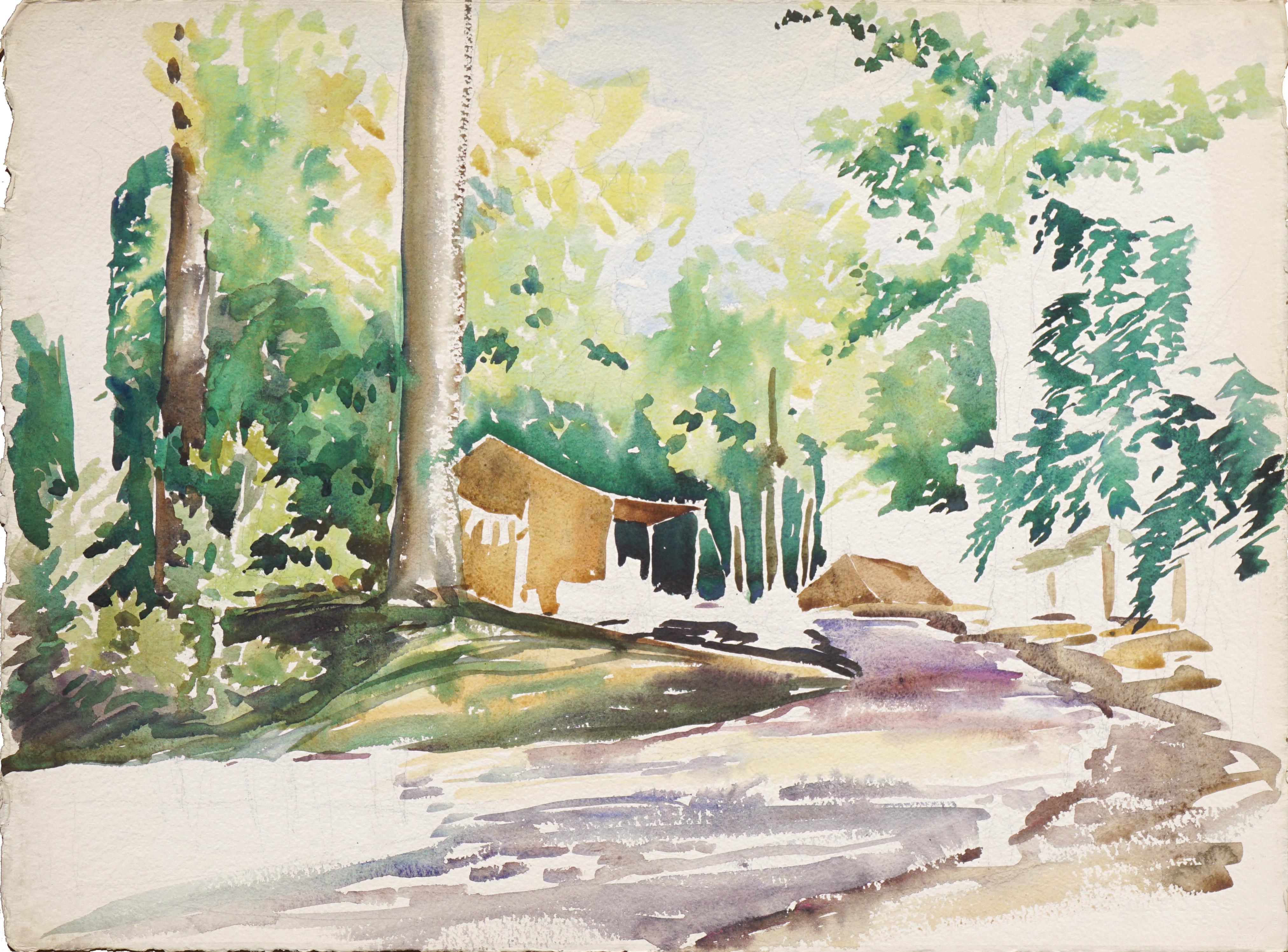 Creekside Campsite - Mid Century Forest Landscape