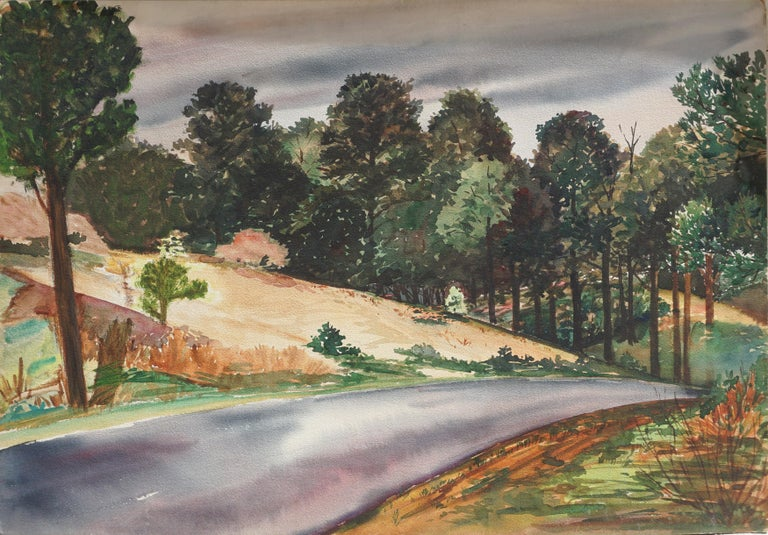 Wonderful mid century country lane in the pines landscape by Joseph Yeager (American, 20th Century). This piece is unsigned, but was acquired with a collection of Yeager work directly from the estate. This piece is on heavy bond paper with ragged