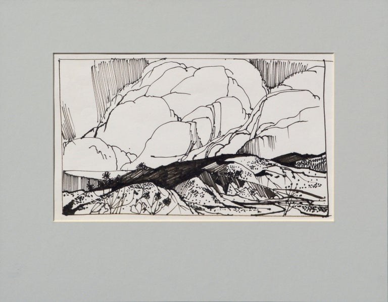Bold landscape with big clouds by by listed Maine artist Laurence Sisson (American, 1928-2015). This piece is unsigned, but was acquired from David Sisson, the artist's son (intialed D.S.) Presented in a new black mat with foam-core backing. Image