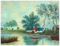 Farm on the River - Pastoral Landscape