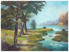 Mid Century Winding River Landscape