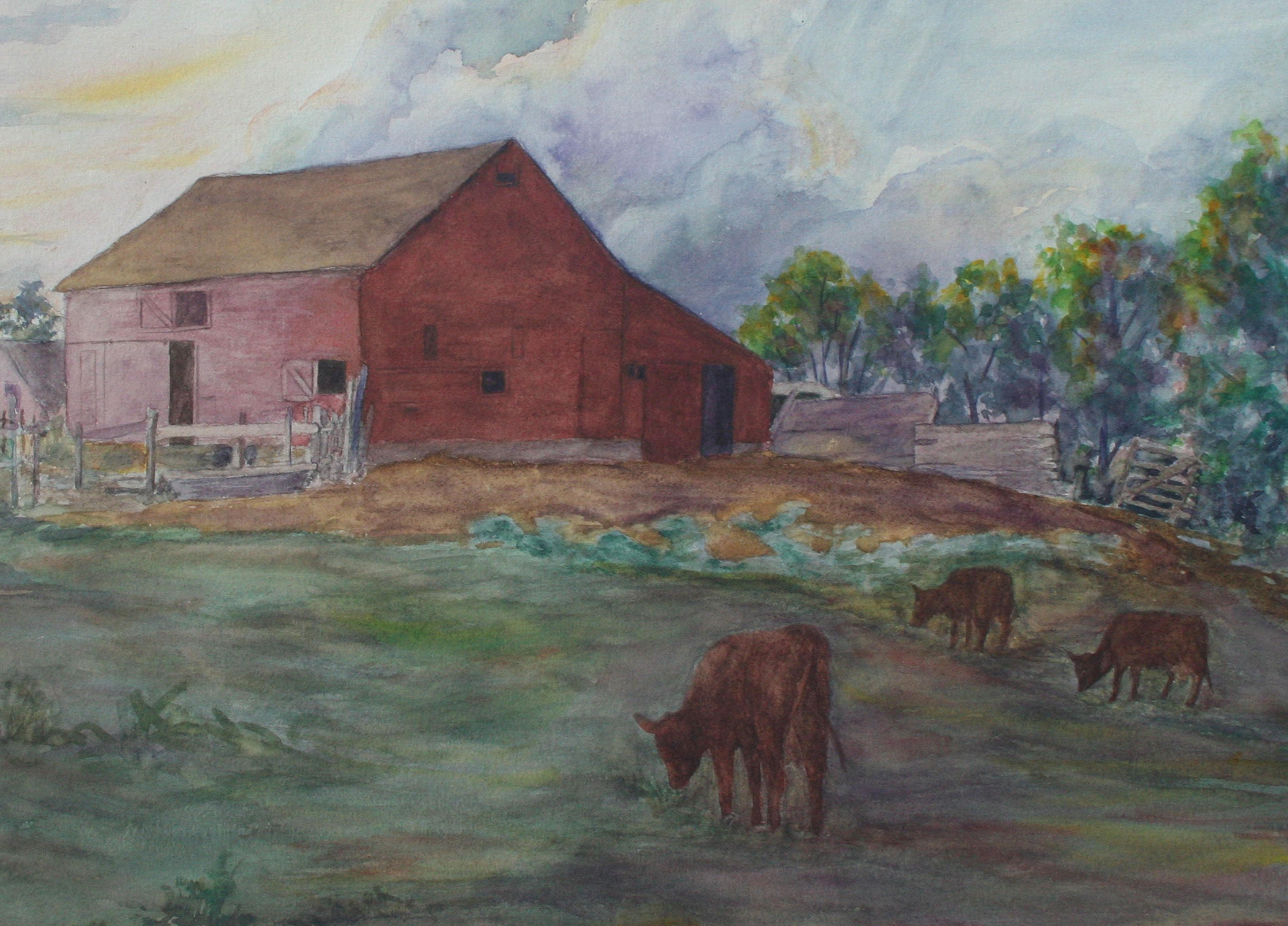 Mid Century Red Farmhouse Landscape