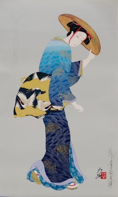 Woman in Blue Kimono - Signed Lithograph