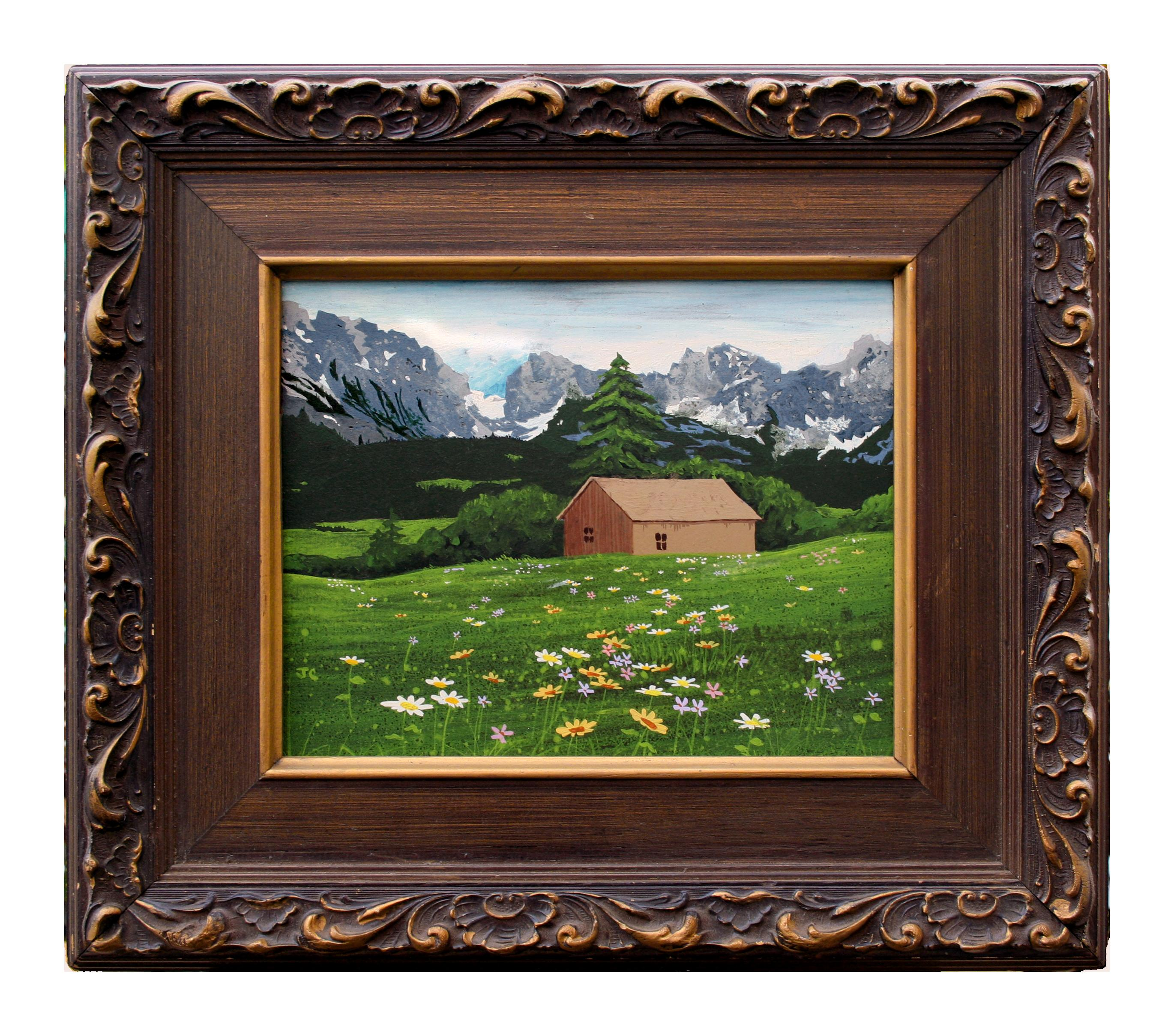 Mountain Meadow Landscape with Cabin and Wildflowers