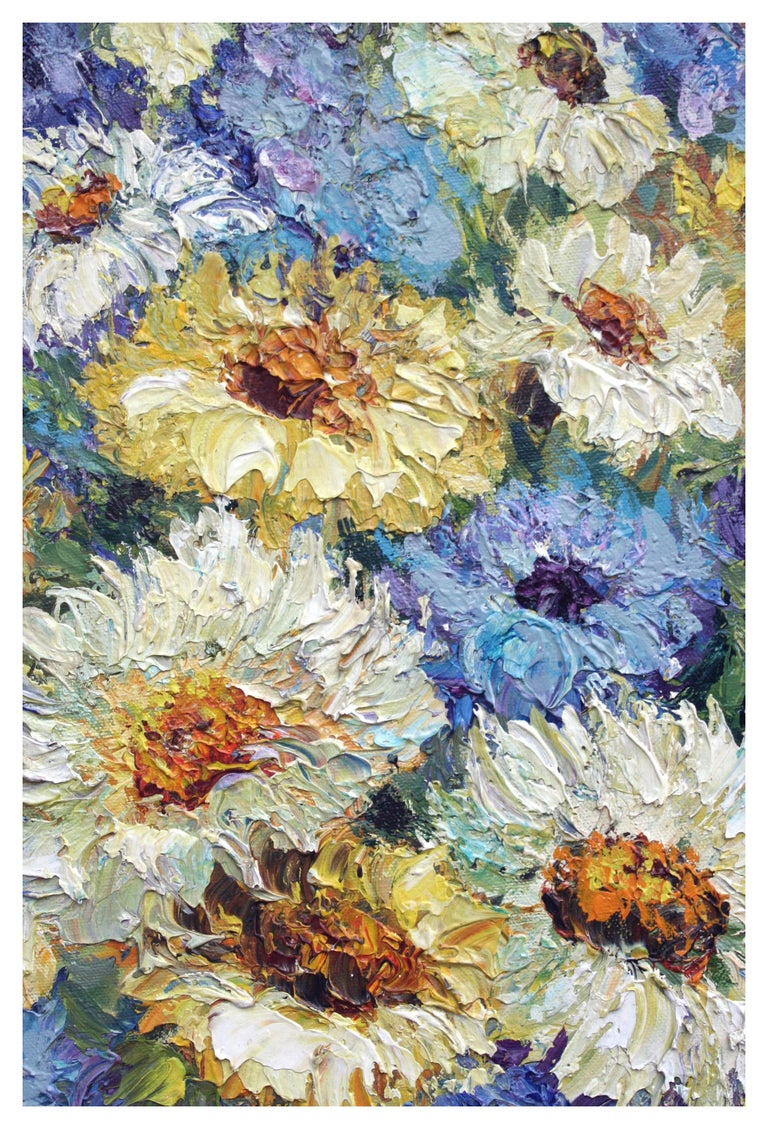 Chrysanthemums - Mid Century Floral Still Life  - American Impressionist Painting by Janet Minkler